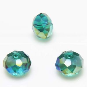 Beads, Selenial Crystal, Crystal, Dark teal AB, Faceted Discs, 10mm x 10mm x 8mm, 10 Beads, [ZZC144]